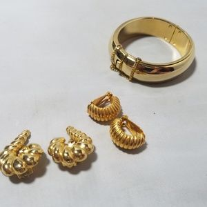 Kenneth Jay Lane Vintage Gold Tone Earrings &Bonus